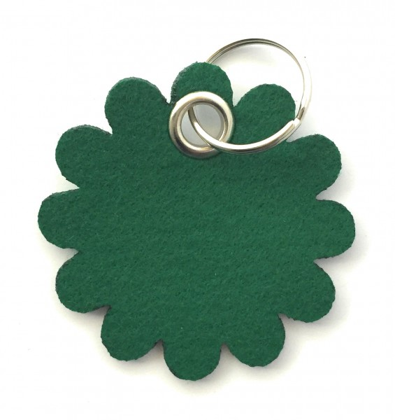 Blume - Rund - Filz-Schlüsselanhänger - Farbe: waldgrün - optional mit Gravur / Aufdruck