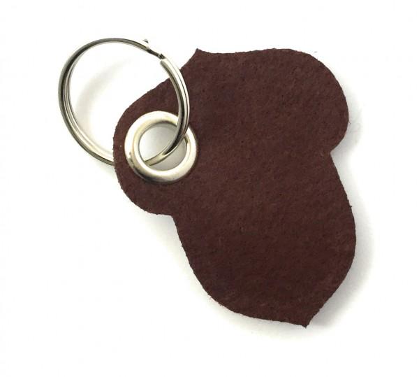 Hasel-Nuss - Filz-Schlüsselanhänger - Farbe: braun - optional mit Gravur / Aufdruck