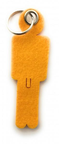 Mann / His - Filz-Schlüsselanhänger - Farbe: gelb - optional mit Gravur / Aufdruck
