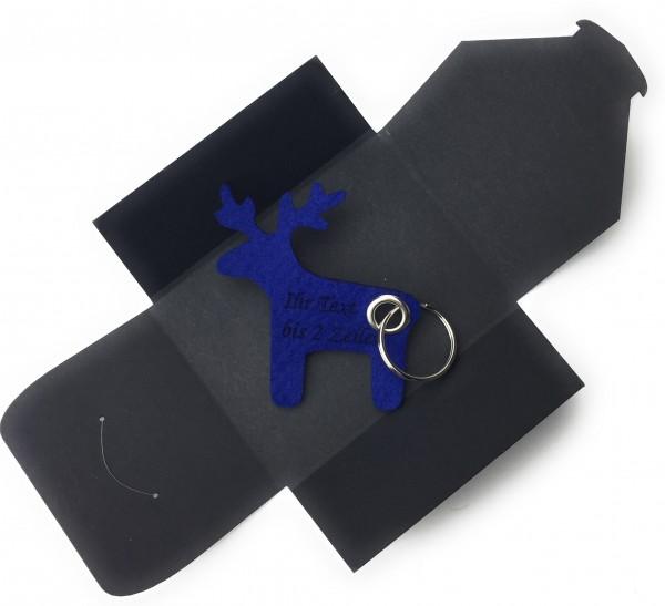 Schlüsselanhänger aus Filz optional mit Namensgravur - Elch / Weihnachten - königsblau als Schlüsse
