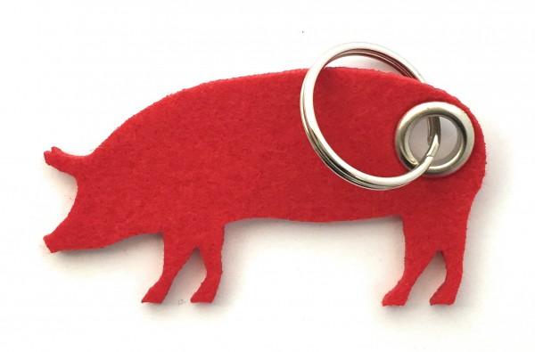 Schwein / Hausschwein - Filz-Schlüsselanhänger - Farbe: rot - optional mit Gravur / Aufdruck