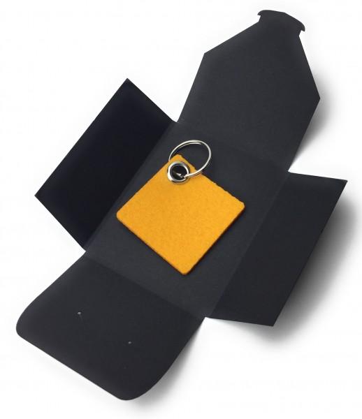 Schlüsselanhänger aus Filz optional mit Namensgravur - Viereck / Simple - safrangelb als Schlüsselan