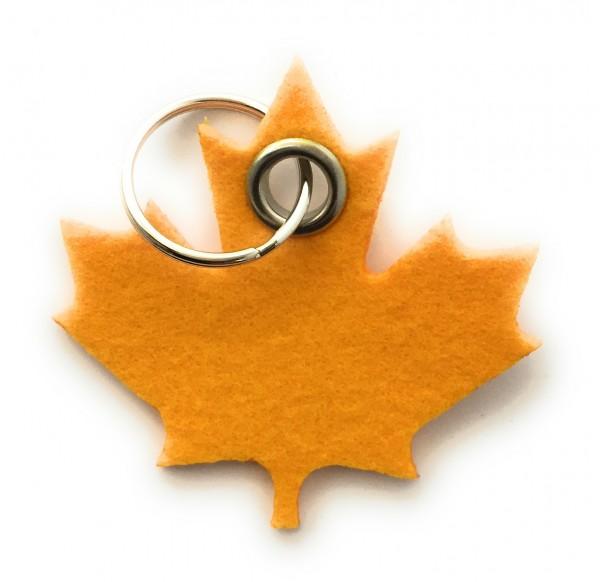 Ahorn-Blatt / Kanada - Filz-Schlüsselanhänger - Farbe: gelb - optional mit Gravur / Aufdruck