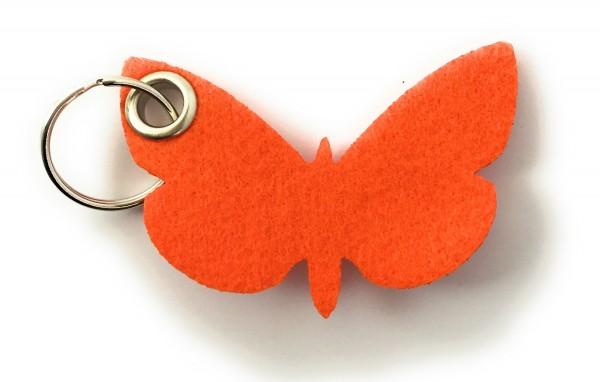 Schmetterling - Filz-Schlüsselanhänger - Farbe: orange - optional mit Gravur / Aufdruck