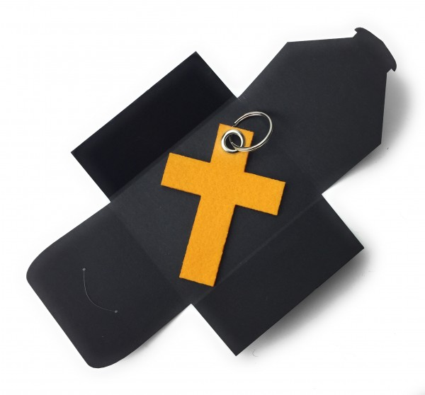 Schlüsselanhänger aus Filz optional mit Namensgravur - Kreuz gross - safrangelb als Schlüsselanhänge
