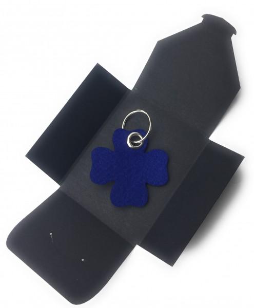 Schlüsselanhänger aus Filz optional mit Namensgravur - Glück / Kleeblatt - königsblau als Schlüssela
