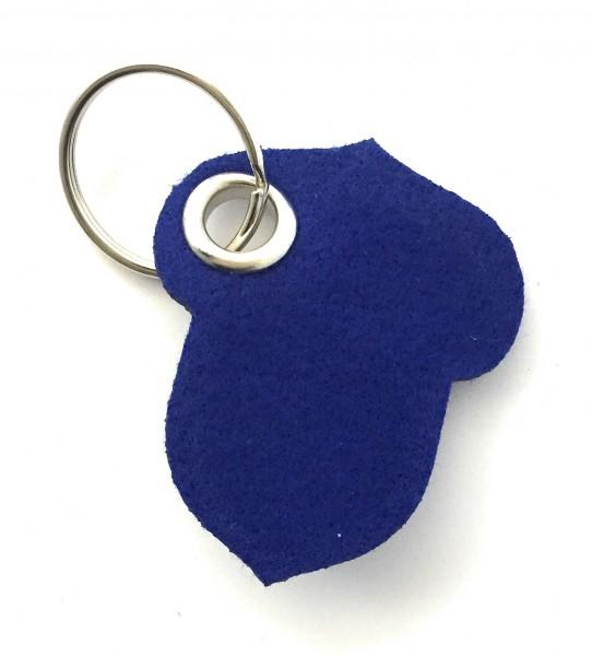 Hasel-Nuss - Filz-Schlüsselanhänger - Farbe: royalblau - optional mit Gravur / Aufdruck