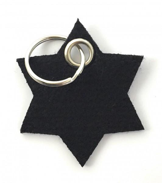 Stern / 6eckig - Filz-Schlüsselanhänger - Farbe: schwarz - optional mit Gravur / Aufdruck