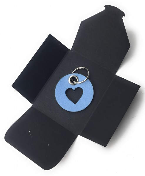 Schlüsselanhänger aus Filz - Kreis / Scheibe / mit Herz / Liebe - eisblau als Schlüsselanhänger / Ko