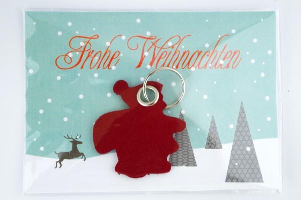 Nikolaus und Weihnachtsmann Filz Schlüsselanhänger mit Schlüsselring und optionaler Werbekarte