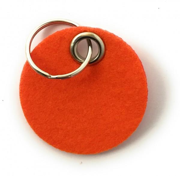 Kreis / Scheibe / Rund - Filz-Schlüsselanhänger - Farbe: orange - optional mit Gravur / Aufdruck