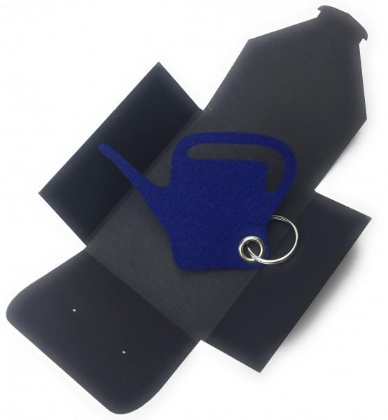 Schlüsselanhänger aus Filz optional mit Namensgravur - Giess-Kanne / Garten - königsblau mit gratis