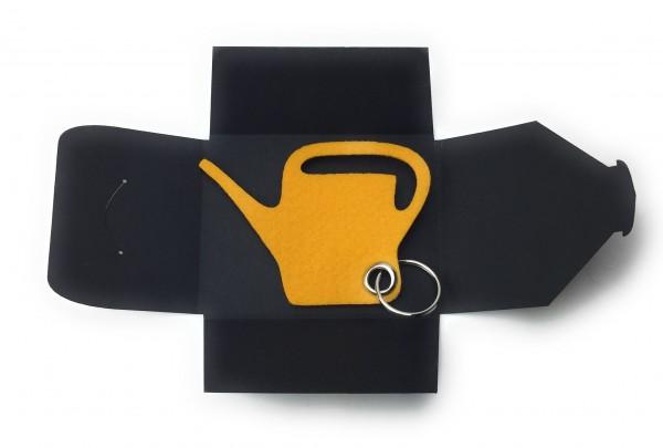 Schlüsselanhänger aus Filz optional mit Namensgravur - Giess-Kanne / Garten - safrangelb mit gratis