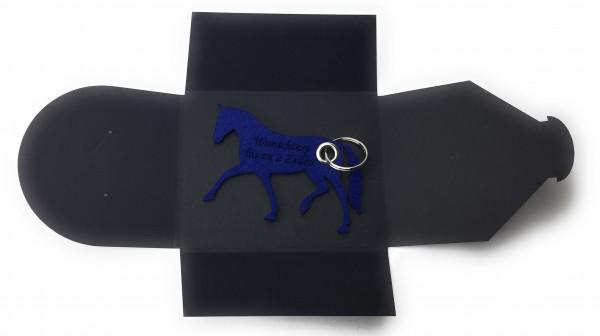 Schlüsselanhänger aus Filz optional mit Namensgravur - Pferd / Dressur / Reiten - königsblau als Sch