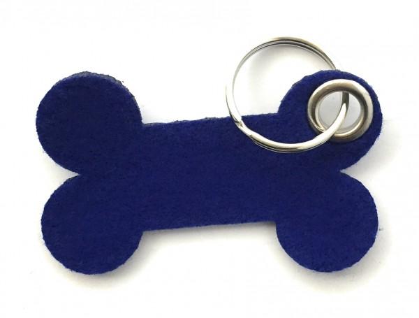 Knochen / Hundeknochen - Filz-Schlüsselanhänger - Farbe: royalblau - optional mit Gravur / Aufdruck