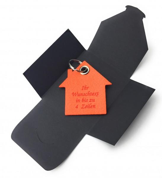 Schlüsselanhänger aus Filz optional mit Namensgravur - Haus - orange als Schlüsselanhänger / Koffera