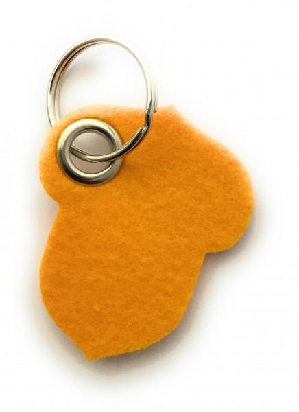 Hasel-Nuss - Filz-Schlüsselanhänger - Farbe: gelb - optional mit Gravur / Aufdruck