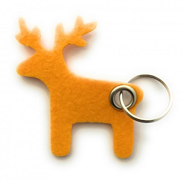 Elch - Filz-Schlüsselanhänger - Farbe: gelb - optional mit Gravur / Aufdruck