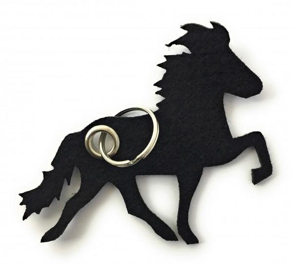 Island -Pferd / Reiten - Filz-Schlüsselanhänger - Farbe: schwarz - optional mit Gravur / Aufdruck