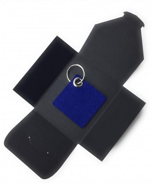 Schlüsselanhänger aus Filz optional mit Namensgravur - Viereck / Simple - königsblau als Schlüsselan