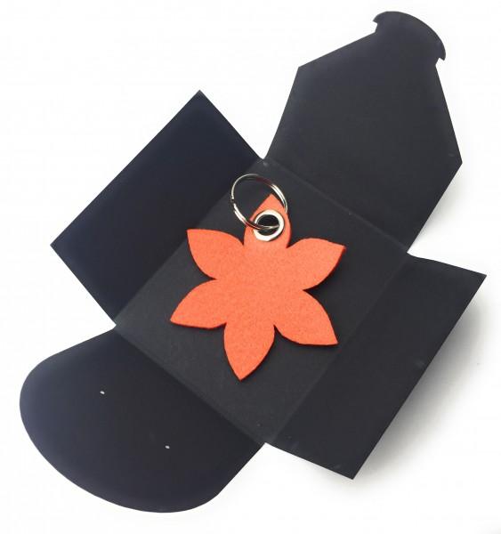 Schlüsselanhänger aus Filz optional mit Namensgravur - Blume spitz / Blüte - orange als Schlüsselan