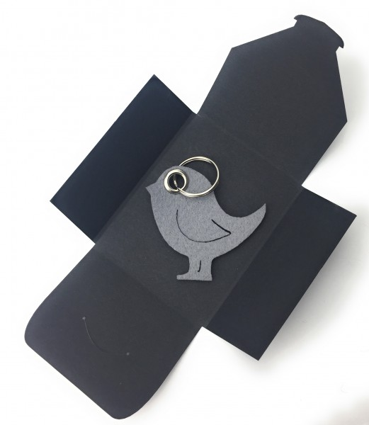 Schlüsselanhänger aus Filz - Vogel / Tier - taubengrau als Schlüsselanhänger / Kofferanhänger und be