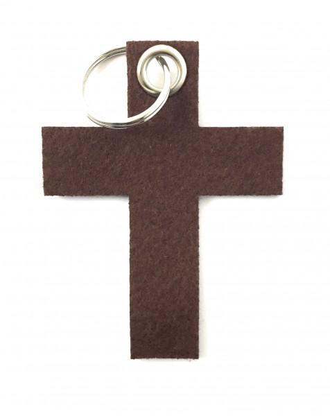 Kreuz groß - Filz-Schlüsselanhänger - Farbe: braun - optional mit Gravur / Aufdruck