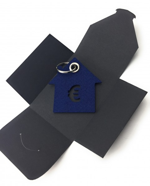 Schlüsselanhänger aus Filz optional mit Namensgravur - Haus / Bank / mit €-Zeichen - marineblau als
