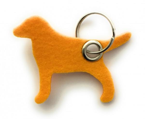 Hund / Tier - Filz-Schlüsselanhänger - Farbe: gelb - optional mit Gravur / Aufdruck