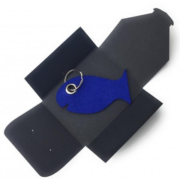 Schlüsselanhänger aus Filz optional mit Namensgravur - Fisch / Tier - königsblau als Schlüsselanhäng