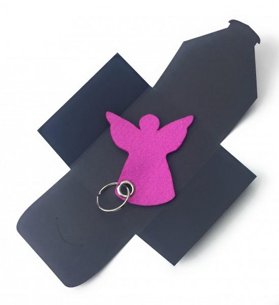 Schlüsselanhänger aus Filz optional mit Namensgravur - Engel / Weihnachten - pink / magenta als Schl