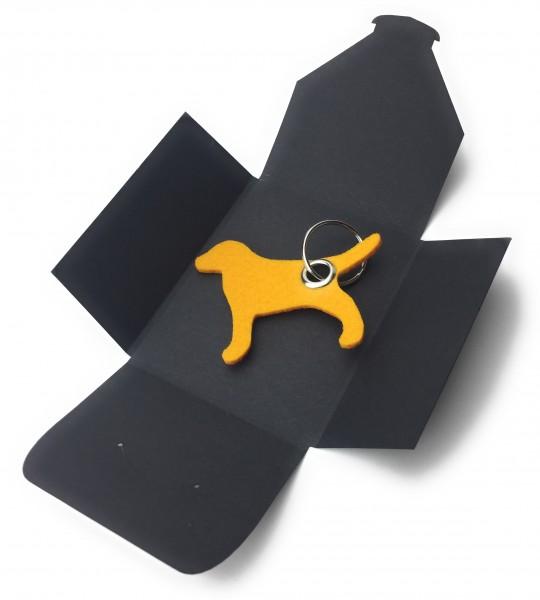 Schlüsselanhänger aus Filz optional mit Namensgravur - Hund / Tier - safrangelb als Schlüsselanhänge