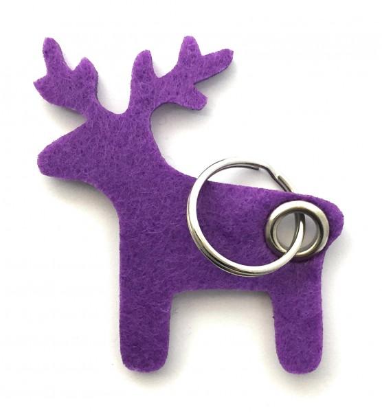 Elch - Filz-Schlüsselanhänger - Farbe: lila / flieder - optional mit Gravur / Aufdruck