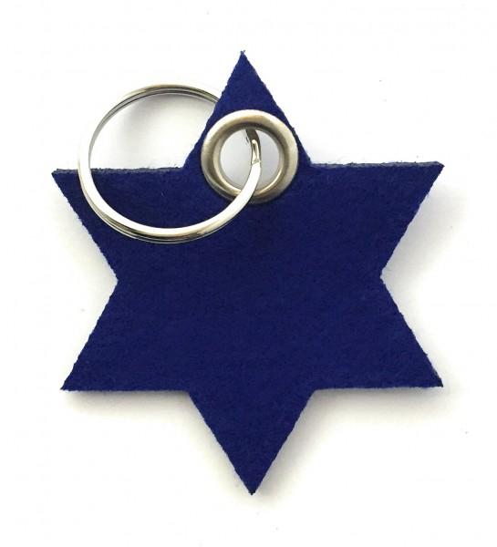 Stern / 6eckig - Filz-Schlüsselanhänger - Farbe: royalblau - optional mit Gravur / Aufdruck