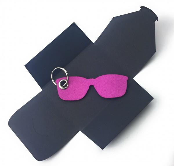 Schlüsselanhänger aus Filz optional mit Namensgravur - Sonnen-Brille / Urlaub - pink / magenta als