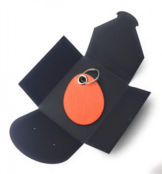 Schlüsselanhänger aus Filz optional mit Namensgravur - Oster-Ei / Ostern - orange als Schlüsselanhän