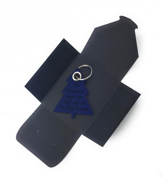 Schlüsselanhänger aus Filz optional mit Namensgravur - Tannenbaum / Weihnachtsbaum - marineblau als