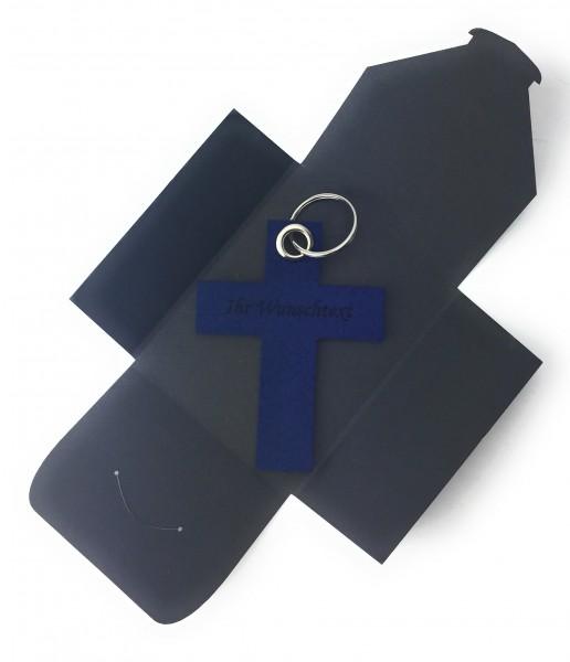 Schlüsselanhänger aus Filz optional mit Namensgravur - Kreuz gross - marineblau als Schlüsselanhänge