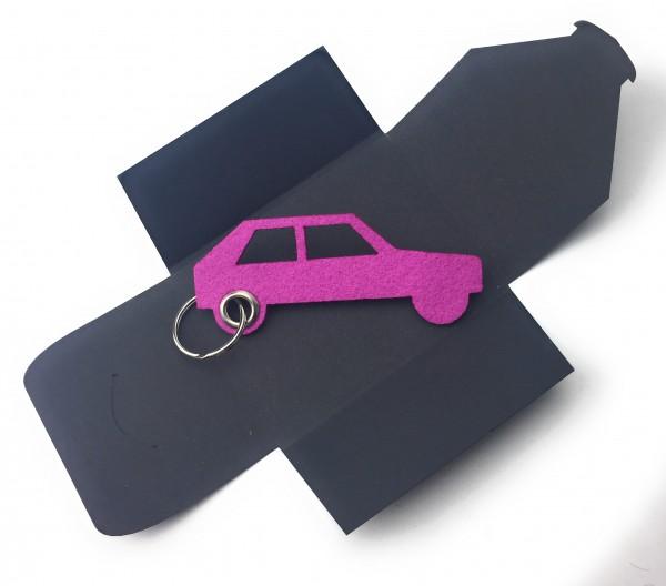 Schlüsselanhänger aus Filz optional mit Namensgravur - Auto Retro - pink / magenta als Schlüsselanhä