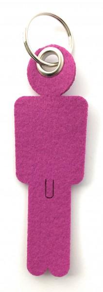 Mann / His - Filz-Schlüsselanhänger - Farbe: magenta - optional mit Gravur / Aufdruck