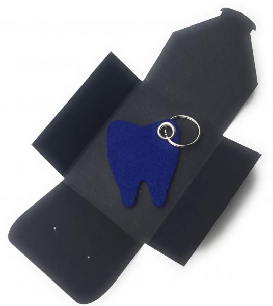 Schlüsselanhänger aus Filz optional mit Namensgravur - Backen-Zahn / Zahnarzt - königsblau als Schlü