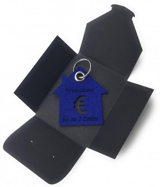 Schlüsselanhänger aus Filz optional mit Namensgravur - Haus / Bank / mit €-Zeichen - königsblau als