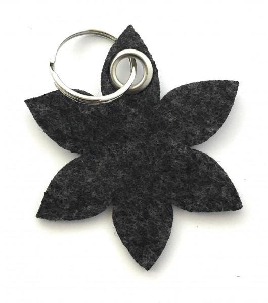 Blume - Spitz - Filz-Schlüsselanhänger - Farbe: schwarz meliert - optional mit Gravur / Aufdruck