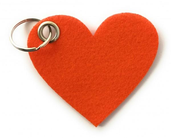 Herz / Liebe /groß - Filz-Schlüsselanhänger - Farbe: orange - optional mit Gravur / Aufdruck