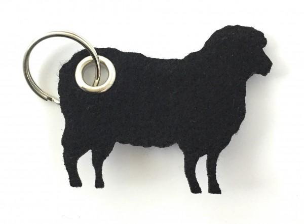 Schaf / Lamm / Tier - Filz-Schlüsselanhänger - Farbe: schwarz - optional mit Gravur / Aufdruck