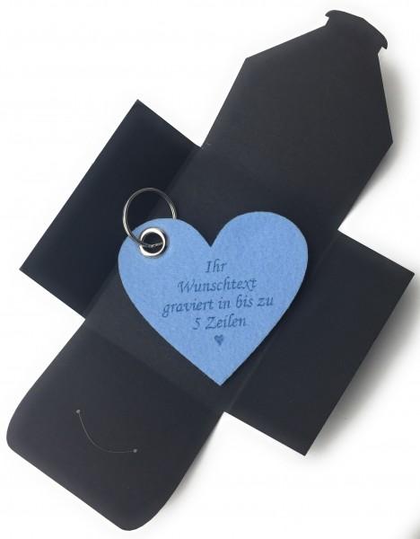 Schlüsselanhänger aus Filz optional mit Namensgravur - Herz / Liebe gross - eisblau als Schlüsselanh