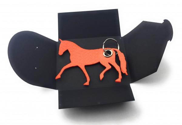 Schlüsselanhänger aus Filz optional mit Namensgravur - Pferd / Dressur / Reiten - orange als Schlüss