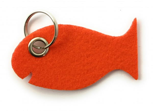 Fisch / Tier - Filz-Schlüsselanhänger - Farbe: orange - optional mit Gravur / Aufdruck