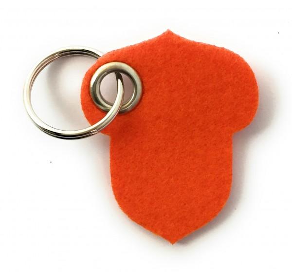 Hasel-Nuss - Filz-Schlüsselanhänger - Farbe: orange - optional mit Gravur / Aufdruck