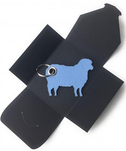 Schlüsselanhänger aus Filz optional mit Namensgravur - Schaf / Lamm / Tier - eisblau als Schlüsselan
